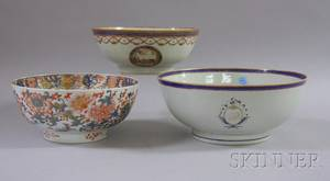 Three Large Chinese Export Porcelain Footed Bowls