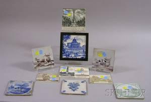 Seven Decorated Ceramic Tiles and Four Wedgwood Ceramic Calendar Tiles