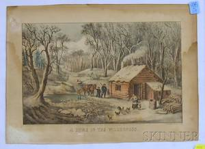 Framed Currier  Ives Handcolored Lithograph A Home in the Wilderness
