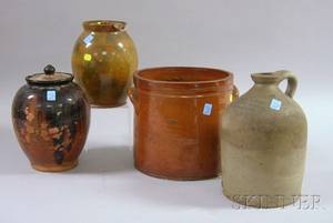 Three Glazed Redware Items and a Stoneware Jug