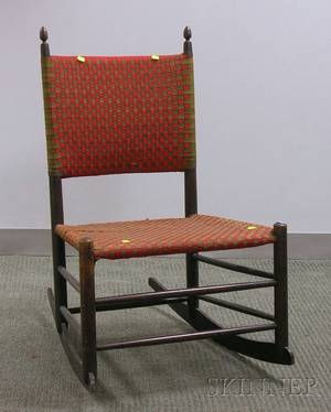Mt Lebanon Shaker Maple Rocking Chair with Woven Tape Back and Seat