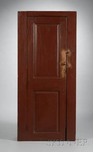 Redpainted Wooden Paneled Door Cupboard