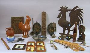 Lot of Assorted Decorative Country Woodenware and Metal Items