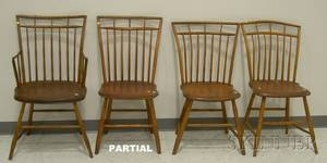 Assembled Set of Seven Windsor Birdcage Side Chairs and an Armchair