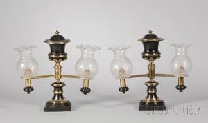 Pair of Empire Partebonized Brass Argand Table Lamps with Etched Glass Shades