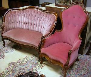 Victorian Rococo Revival Upholstered Carved Walnut Parlor Settee and Armchair