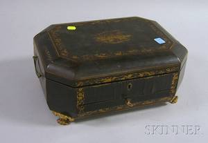 Chinese Export Gilt Decorated Black Lacquered Footed Sewing Box with Carved Ivory Sewing Accoutrements