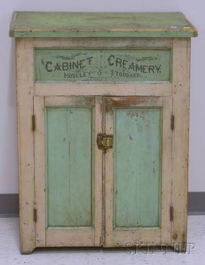 Moseley  Stoddard Cabinet Creamery Green and Whitepainted Wooden Churn Cabinet