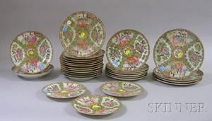 Twentyseven Chinese Export Porcelain Rose Medallion Pattern Plates