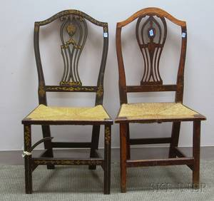 Two Blackpainted and Gilt Decorated Federal Side Chairs with Woven Rush Seats