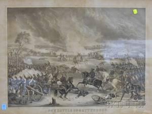 Giltwood Framed Thomas Kelly Lithograph Battle of Gettysburg