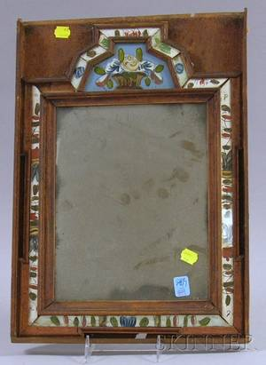Pine and Reversepainted Glass Courting Mirror