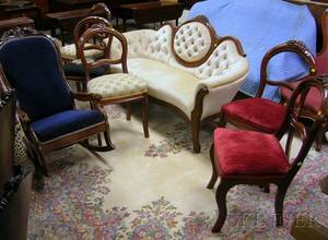 Victorian Rococo Revival Upholstered Carved Walnut Parlor Settee Five Side Chairs and an Armrocker