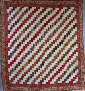 19th Century Hand and Machinestitched Pieced Cotton BricksStreak of Lightning Pattern Crib Quilt
