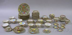 Fiftyfive Pieces of Chinese Export Porcelain Rose Medallion Tableware
