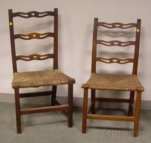 Two Country Chippendale Birch Ribbonback Side Chairs with Woven Rush Seats