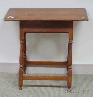 William  Mary Pine Breadboardtop Maple Tavern Table with Splayed Legs