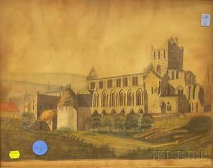 Framed 19th Century British School Ink and Watercolor View of Jedburgh Abbey