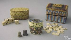 Two miniature wallpaper covered bentwood boxes