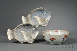 Imari Decorated Porcelain Bowl and a Pair of Japanese Fishform Porcelain Plates
