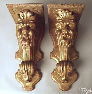 Pair of Victorian carved wall sconces