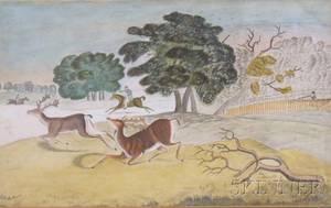 Birdseye Maple Veneer Framed Primitive Watercolor on Paper Depicting a Hunt Scene