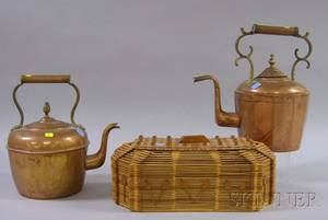 Two Brassmounted Copper Hot Water Kettles and a Tramp Art Lidded Box Made of Wooden Popcicle Sticks