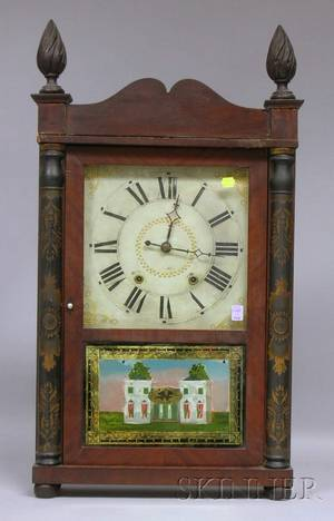 Stenciled Column Mahogany Shelf Clock by George Mitchell
