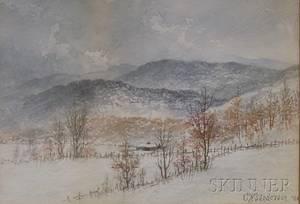Framed Watercolor on Paperboard Winter Landscape by Charles Wesley Sanderson American 18351905