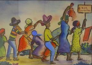Framed Haitian School Ink and Watercolor on Paperboard Scene with Figures Marching