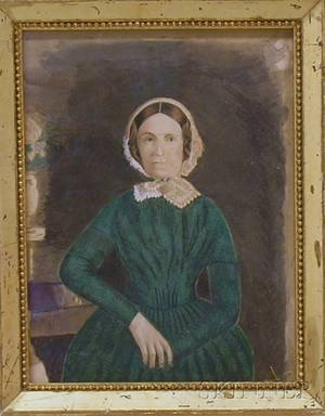 Framed 19th Century American School Mixed Media Portrait of a Woman Purportedly Mrs Susan Davenport