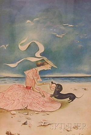 Framed Color Offset Lithograph of a Young Woman and Dog on the Beach After Mary Petty American 18991976