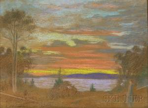 Framed Pastel on PaperBoard Landscape at Sunset Anquish on September Attributed to Edith Howland American 18631949