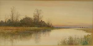 Samuel R Chaffee American 19th20th Century View of a Marsh at Low Tide