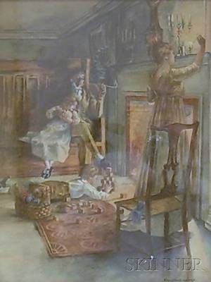 Framed 20th Century American School Watercolor on Paper Evening Scene of a Family by the Hearth