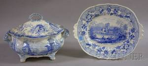English Pale Blue Transfer Decorated Staffordshire Footed Soup Tureen with Cover and a Platter