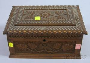 Late 19th Century Folk Inlaid and Carved Wooden Eagle and Vine Decorated Lidded Box