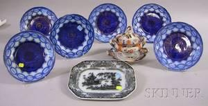 Six Flow Blue Martha Washington Pattern Plates a Flow Mulberry Corean Pattern Platter and an English Imari Pa