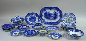 Thirty Pieces of Miscellaneous English Flow Blue Tableware
