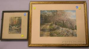 Two Framed Handcolored Landscape Photographs and a Walnut Framed Mirror