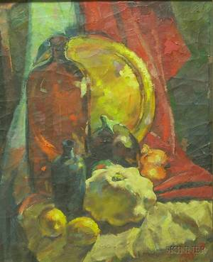 Framed 20th Century American School Oil on Canvas Still Life with Fruit