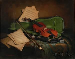 Framed Oil on Canvas Still Life Old Violin by Dorothy Fitzgerald American b 1932