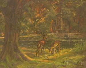 French School 20th Century Cerfs  labreuvoir Deer Drinking at a Stream