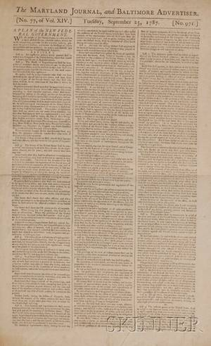 Constitution of the United States Early Printing