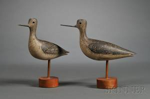 Pair of Carved and Painted Yellowlegs Shorebird Decoys