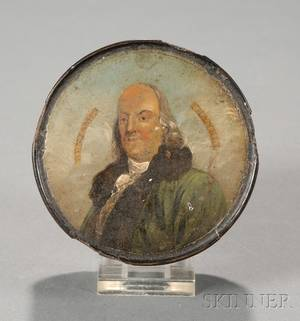 Papier Mache Snuff Box with Painted Engraving of Benjamin Franklin