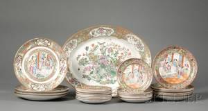 Twentyfour Chinese Export Porcelain Plates and an Oval Platter