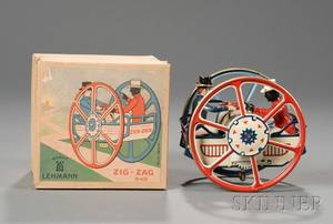 Lehmann Zig Zag Lithographed Tin Toy in Original Box