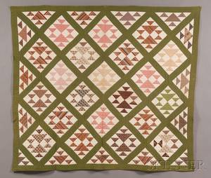 Pieced and Appliqued Cotton Quilt and Wool and Silk Floral Hooked Seat Cover