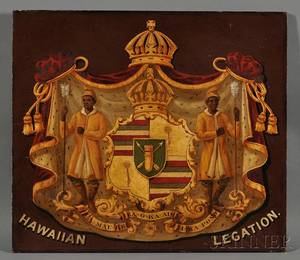 Painted and Gilded Panel of the Hawaiian Royal Coat of Arms and HAWIIAN LEGATION
